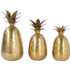 Set of Three Hollywood Regency Pineapple Ice Buckets