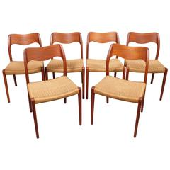 1960's Niels O. Moller Model 71 Teak Dining Chairs