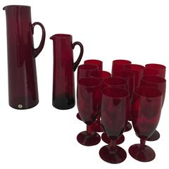 1960 Monica Bratt Reijmyre Glass Set of Two Pitchers and 12 Drinking Glass
