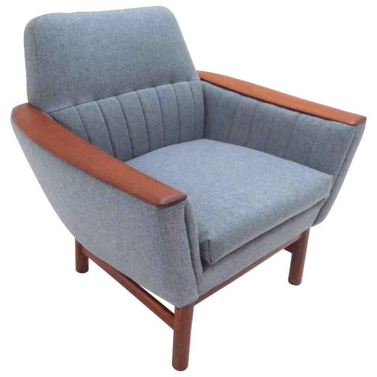 Scandinavian light blue wool and teak armchair midcentury for Light blue armchair