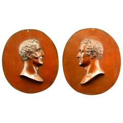 Pair of 19th Century Copper Relief Portrait Busts of Wellington and Napoleon