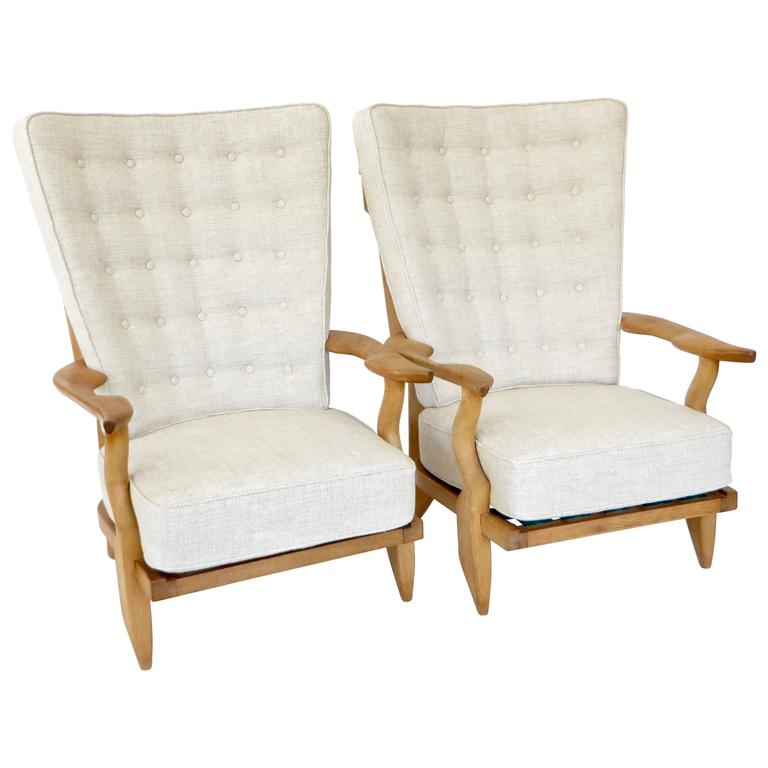 Pair of French Grand Repos Lounge Chairs by Guillerme et Chambron Votre Maison 1