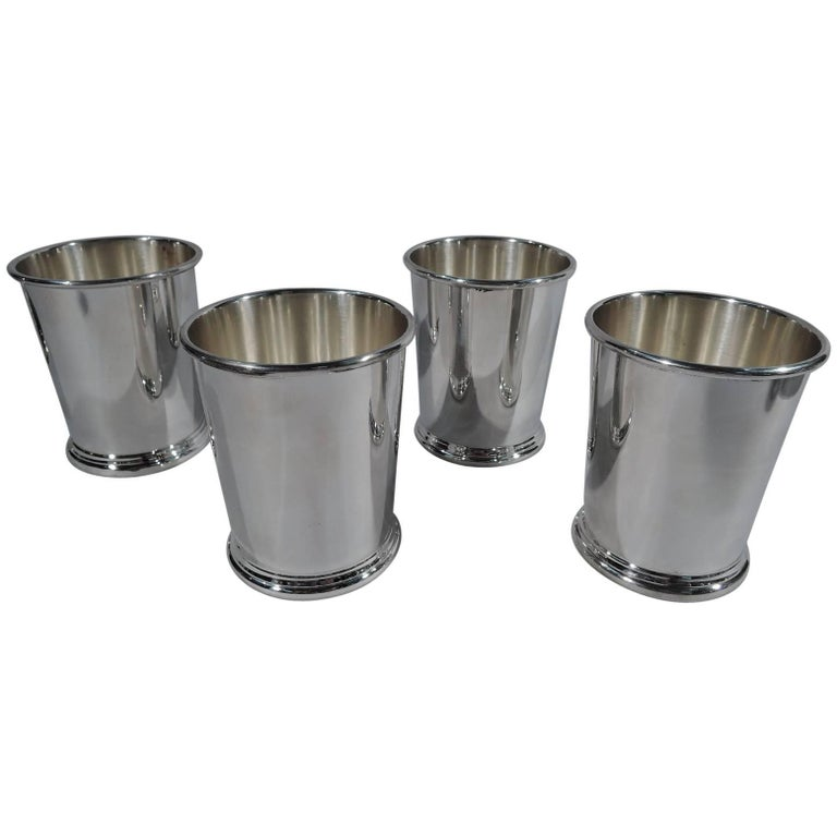 Set of Four American Sterling Silver Mint Julep Cups by Preisner For Sale