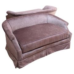 Pair of Vintage Rolled Arm Settees in Lavender Velvet