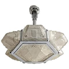French Art Deco Pendant Chandelier by Hanot