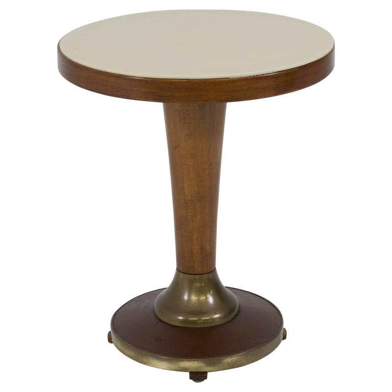 Elegant french art deco occasional table with glass top for Glass top occasional tables