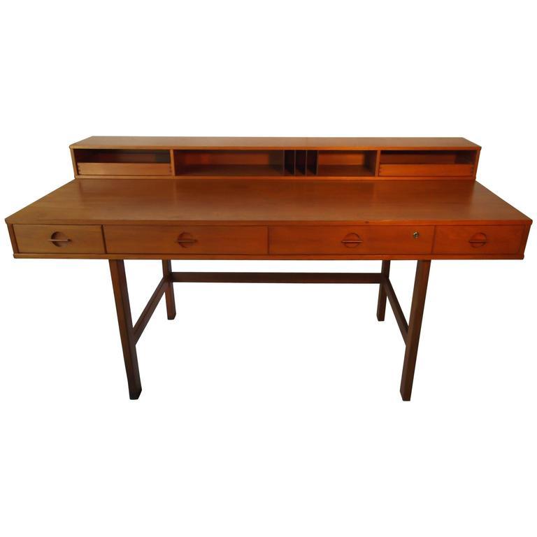 Danish Modern Teak Jens Quistgaard Flip Top Table Desk For Peter Lovig