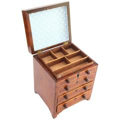 Early 19th Century Miniature Lift Top Dresser Form Jewelry Chest
