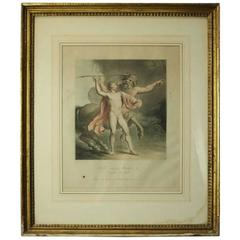 """Antique Colored Print """"Achilles Instructed by Chiron"""" by J. Clarke, circa 1789"""
