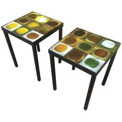 Roger Capron Rare Signed Charming Pair of Ceramic Side Tables