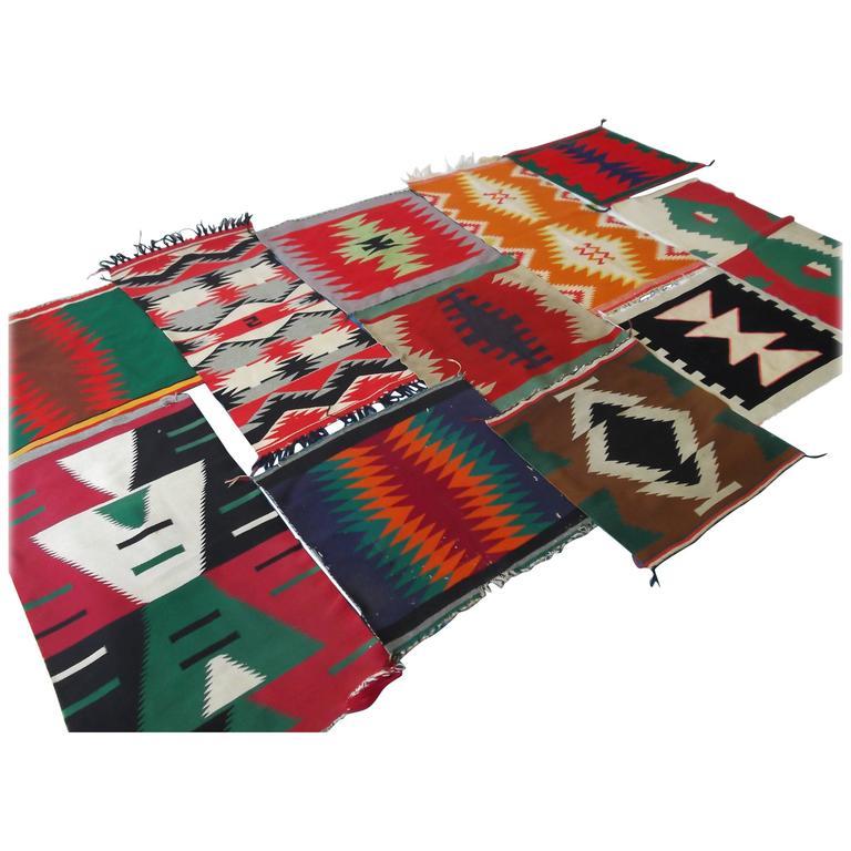 11 Antique Germantown Navajo Native American Indian Sampler Rug Weavings For Sale