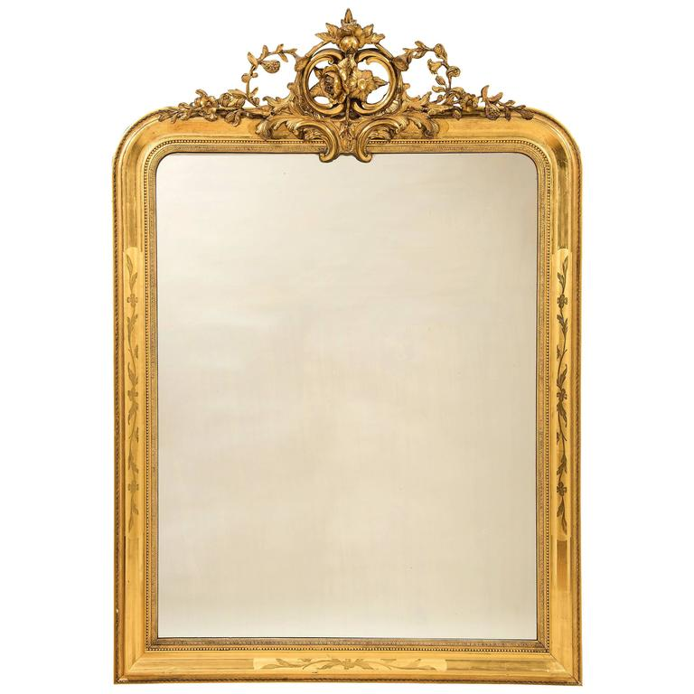 Large 19th Century Antique Carved Giltwood and Gesso Mirror