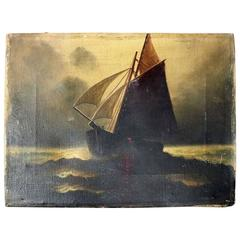 Antique Maritime Oil on Canvas of Ship, Signed A. Miller Mull, circa 1870