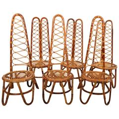 French Riviera Mid-Century Bamboo Chairs, Set of Six