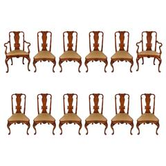 Set of 12 Georgian Style Walnut and Burled Walnut Dining Chairs