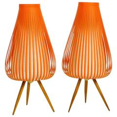Pair of Graceful Table Lamps for Nightstands, Germany, 1950s