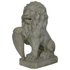 Italian 18th Century Carved Carrara Marble Lion