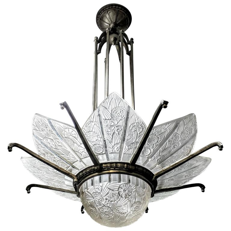 French Art Deco Chandelier Signed by Hettier Vincent