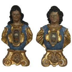 Pair of 17th Century Italian Carved Reliquary Busts