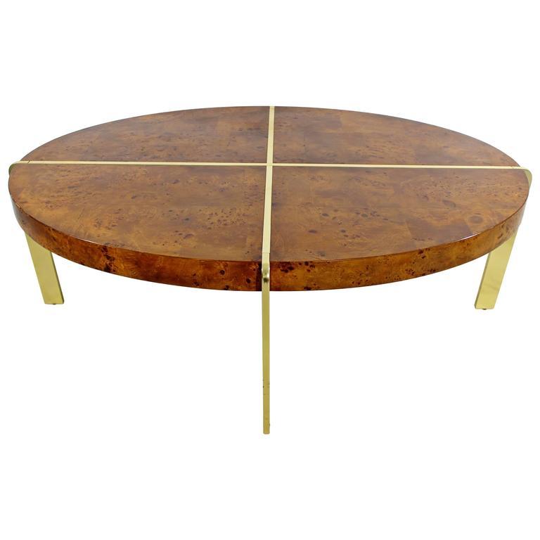 Mid-Century Modern Milo Baughman Burl Wood Oval Coffee