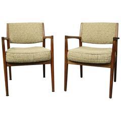 Pr Mid-Century Danish Modern Upholstered Teak Armchairs Roffman Associates c1960