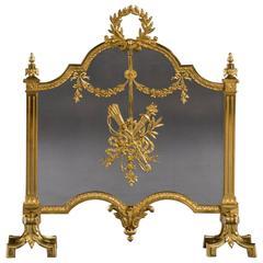Rare 19th Century Victorian Period Ormolu and Gilt Brass Fire Screen