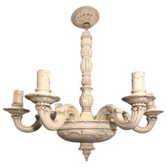 Art Nouveau Quality Carved Wood Chandelier / Pendant Light Chandelier, 1910s
