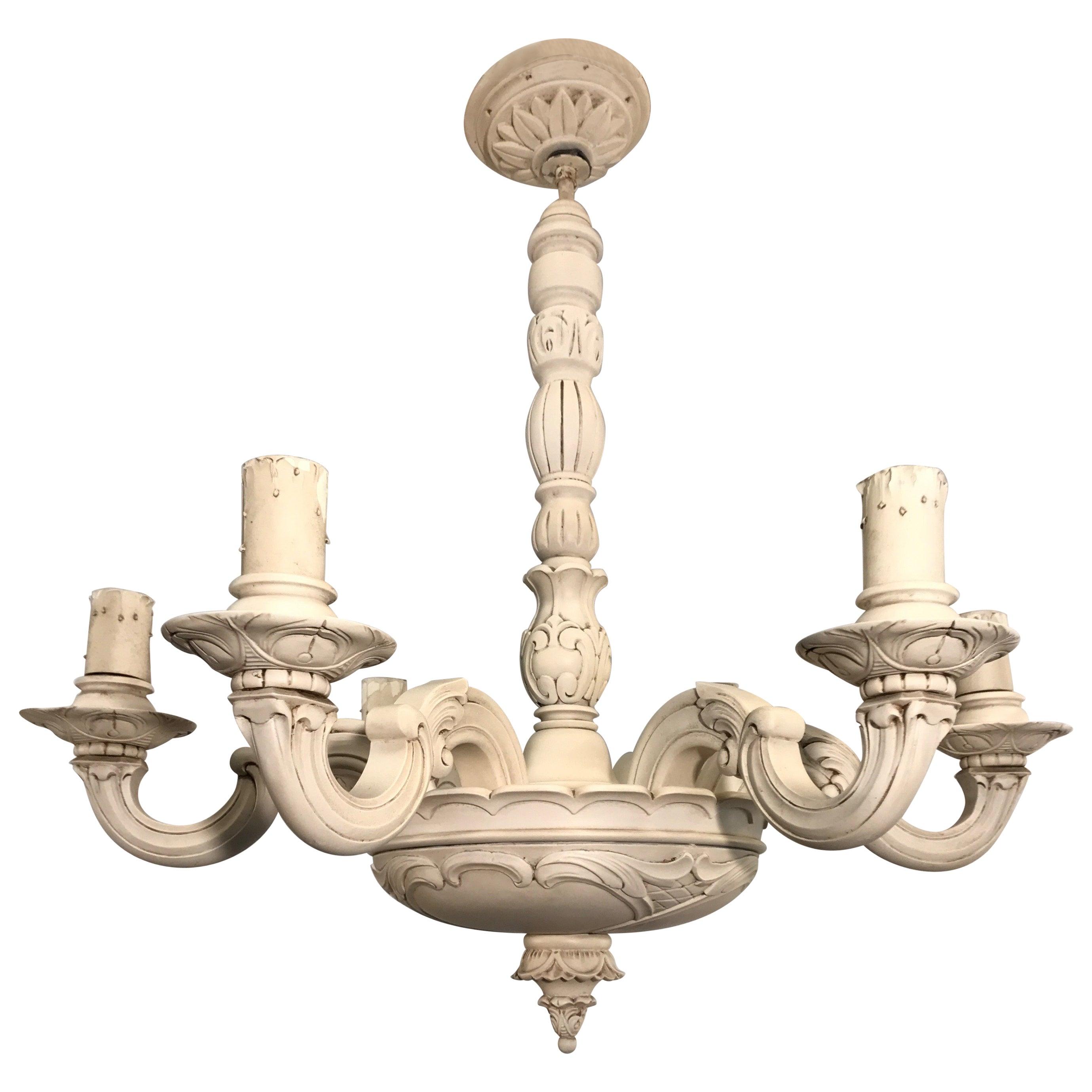 Art Nouveau Quality Carved Wood Chandelier / Pendant Light Chandelier, 1910s