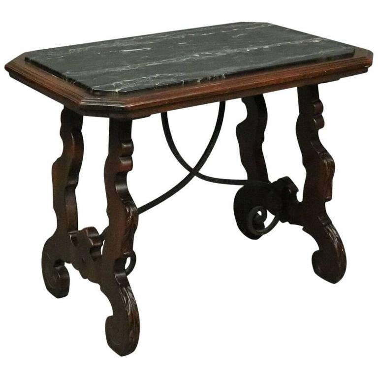 Vintage Continental Mahogany Wrought Iron And Marble Trestle Coffee Table For Sale At 1stdibs