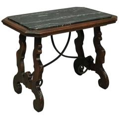 Vintage Continental Mahogany, Wrought Iron and Marble Trestle Coffee Table