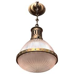 Early, 1900 French Art Deco Holophane Glass and Brass Pendant Light Ceiling Lamp