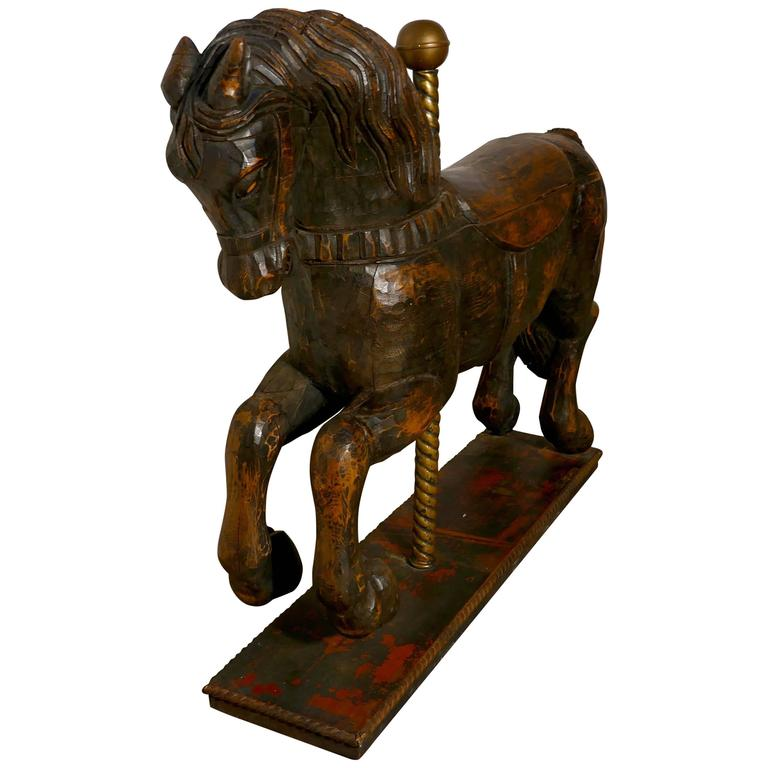 19th Century Wooden Spanish Carousel Galloper or Fair Ground Horse