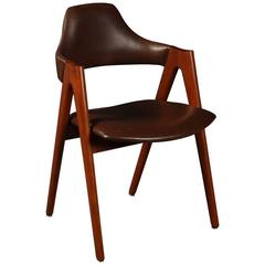 1960s Compass Teak and Leather Chair by Kai Kristiansen for SVA Møbler