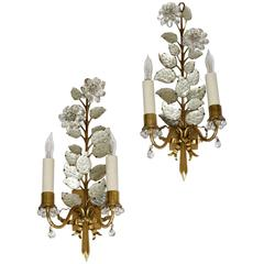 Pair of Baguès Floral Gilt Bronze Wall Sconces