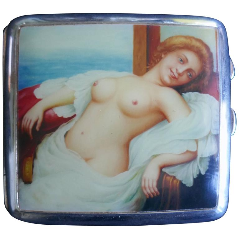 Edwardian Silver and Risqué Nude Enamel Cigarette or Card Case by Joseph Gloster