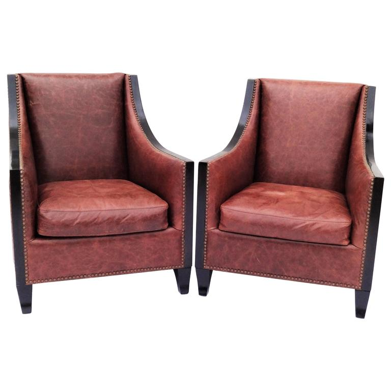 leather high back chairs for sale pair of high back leather club chairs for at 1stdibs 16639 | 7519273 l