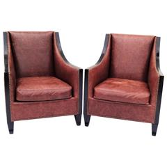 Pair of High Back Leather Club Chairs