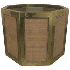 1970s Brass and Rattan Octogonal Planter