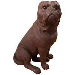 Austrian Terracotta Model of a Bulldog with Glass Eyes