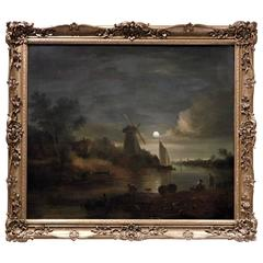 "Oil on Canvas, ""Moon Light Village with Windmill"""