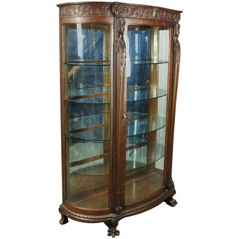 R.J. Horner Bros. Figural Carved Oak Mirror Back China Cabinet ...