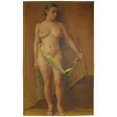 Standing Nude Oil on Canvas by American Artist Jane White