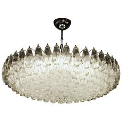 Imposing Poliedri Chandelier, Clear, Murano Made