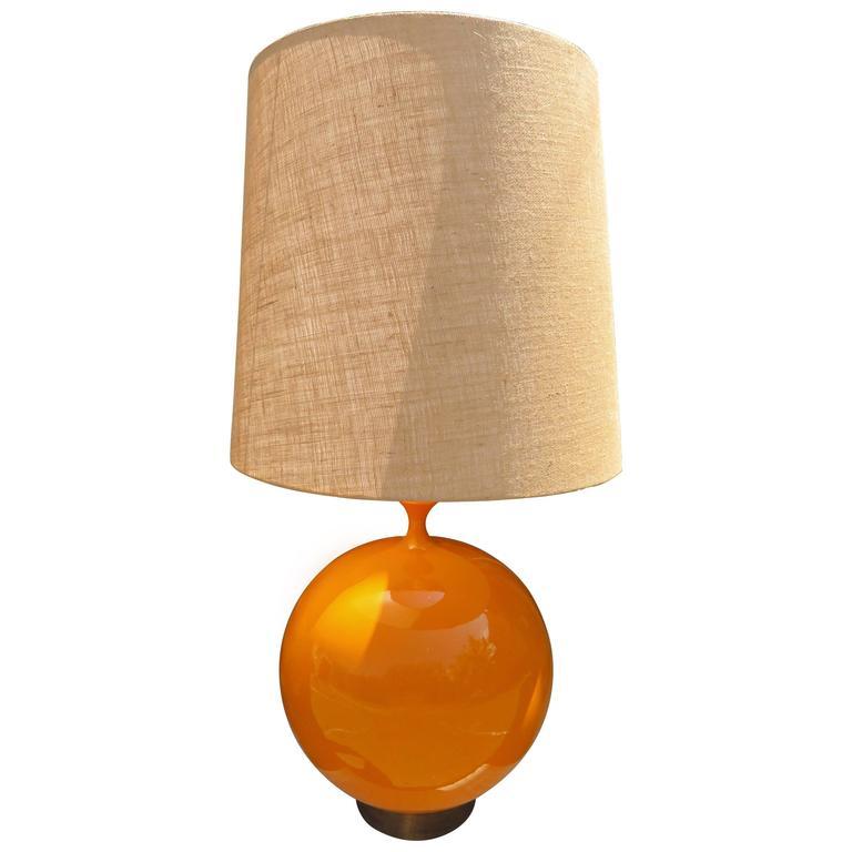 Mive Large Scale Orange Glaze Ceramic Orb Lamp Mid Century Modern For