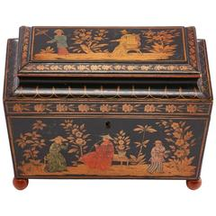 Rare English Regency Tea Caddy with Monochrome Chinoiserie Decoration circa 1820