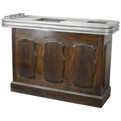 Authentic Ancient Bar Counter in Oak and Tin, circa 1900
