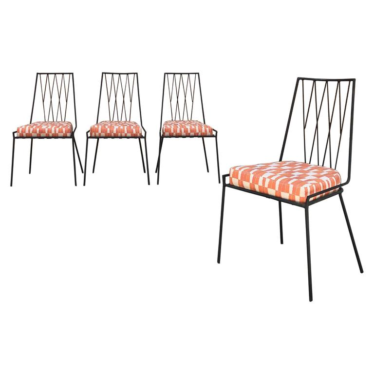 Set of Four Rare Paul McCobb Wrought Iron Patio Dining Chairs