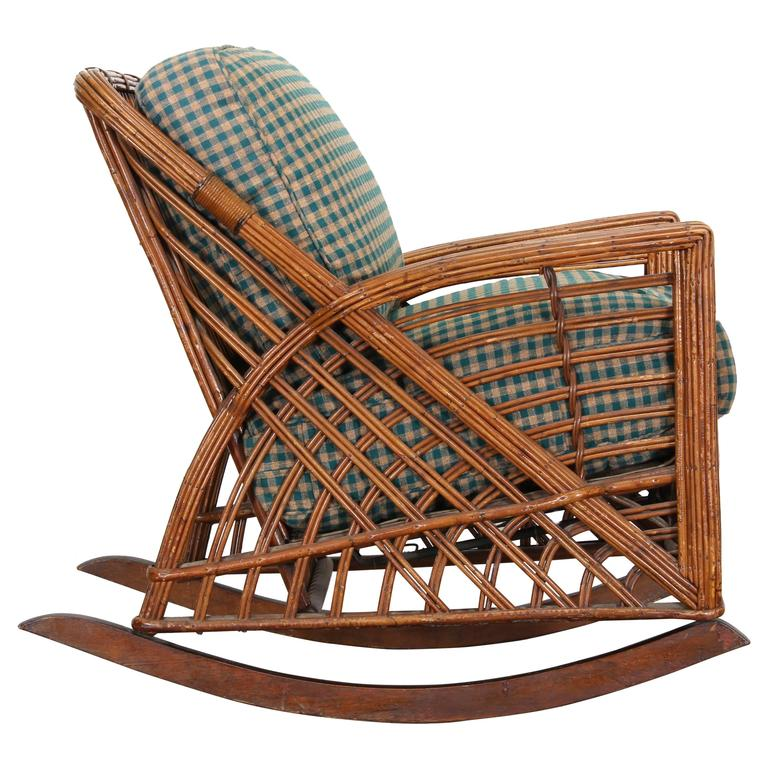 Cramer art deco stick reed rattan wicker rocking chair for Cramer furniture