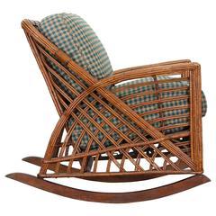 Cramer Art Deco Stick Reed Rattan Wicker Rocking Chair, 1930s
