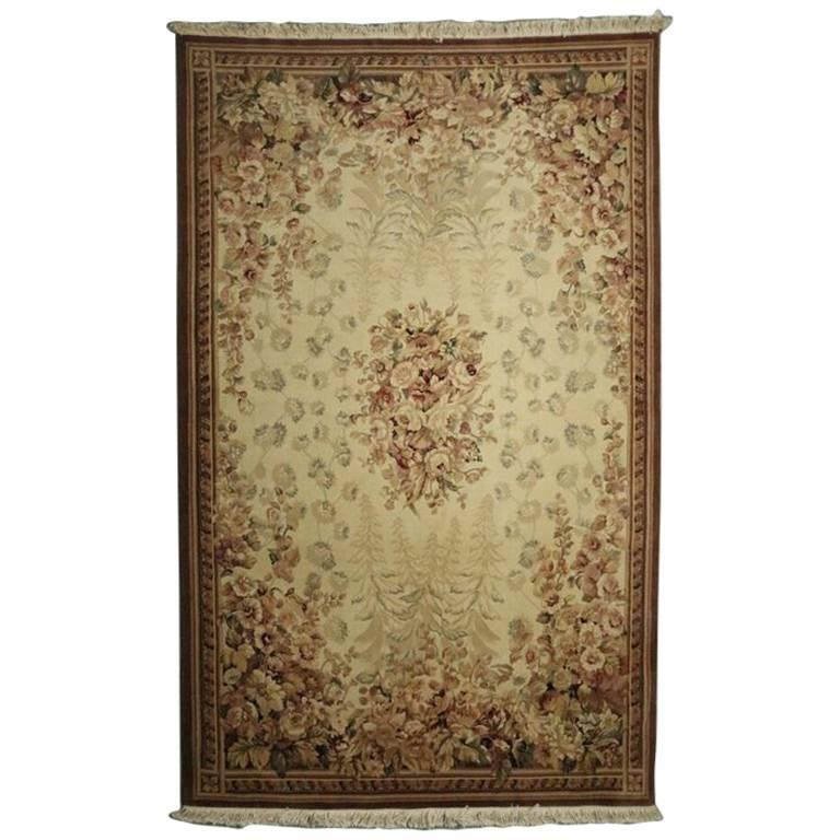 French Oriental Rugs : Vintage french aubusson style hand knotted oriental rug